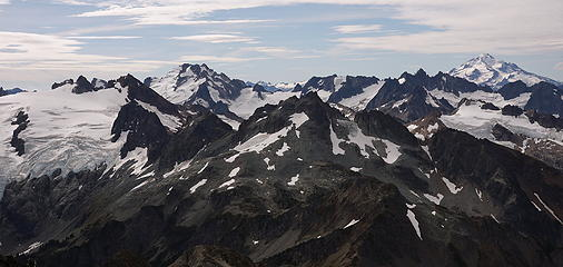 32. Glacier Peak is almost directly south.  Dome Peak has come into view as well