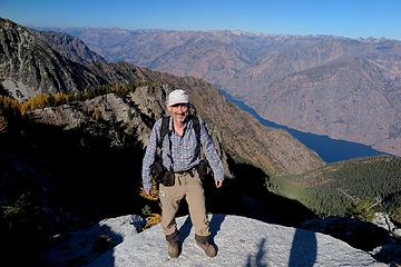 Me on Graham summit, looking east across Lake Chelan