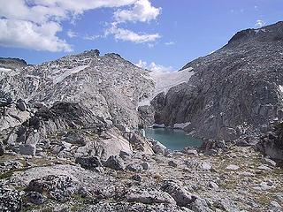 Remnant of Snow Creek Glacier above Isolation Lake 08-19-05