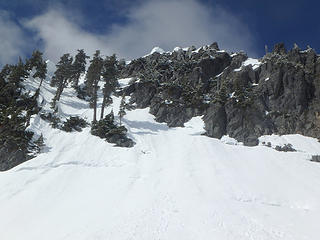 Looking up the summit block of Roosevelt