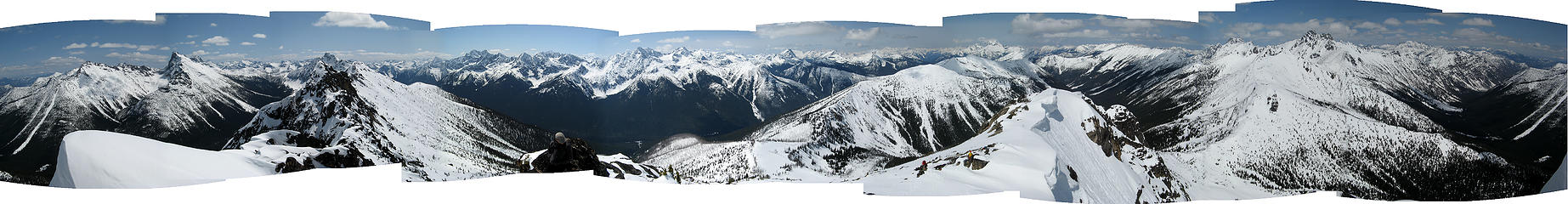 360 degree pan from Methow Pinnacles.  Previous pan is the center third of this pan.  (labeled)