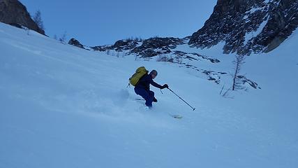 Jake skiing down from Asgard