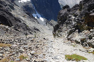 Dropping the gully below the summit. Hope this goes!