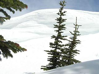 Cornice on the south edge of the false summit