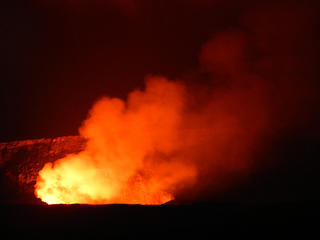 Halema'uma'u inside Kilauea Crater at night