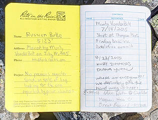 Russian Butte register book 2 placed in 2015