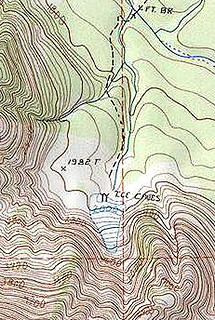 Big Four Ice Caves as shown on USGS map