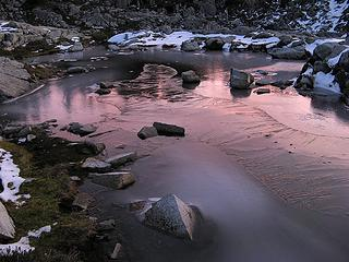 Dawn reflected on fresh-frozen Flowing Tarn