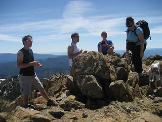 AB surrounded by boys on Earl Peak