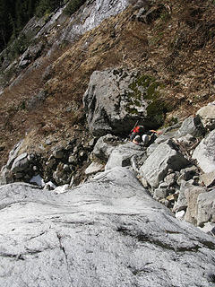 Scrambing the snowless lower gully