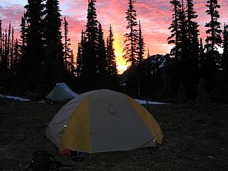 Camp at sunrise