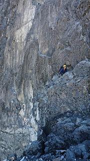 Elaine climbing through a groove