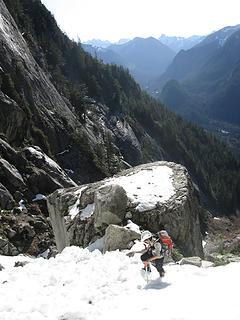 Carla ascends above ginormous boulder