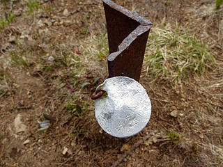 Range marker we found on the ridge dated 8/25/1966.