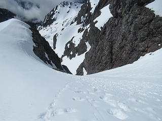 looking down the lower couloir