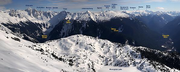 Looking East: across Marble Cirque and down the Ptarmigan Traverse