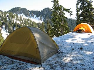 Camp at the col in the morning