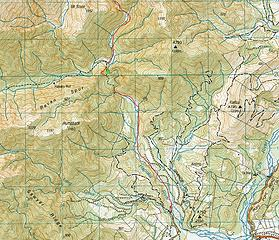 Approach Map; notice the green X marking part of the bypass trail no longer usable. Also note the Hapuku River no longer flows where the maps shows it in the first 3 miles from the car park