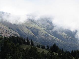Tyler Peak in the fog