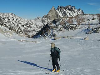 skiing across Isolation Lake