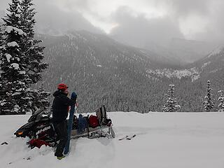 The start of the skiing off highway 20