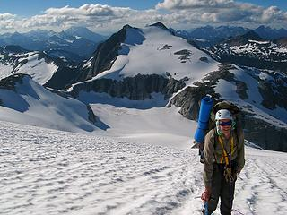 Paul ascending the Challenger Glacier, with Perfect Pass & Whatcom Peak (being poked by Slesse)