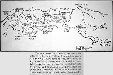 I happened to be paging through the classic 101 hikes book from 1966 shortly after doing this hike. I was surprised to see that back then the side trail to Angeline Lake was well known enough to include on the map and in the description