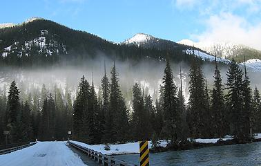 Cle Elum River Bridge & Red Mountain, summit is whitest high point on right