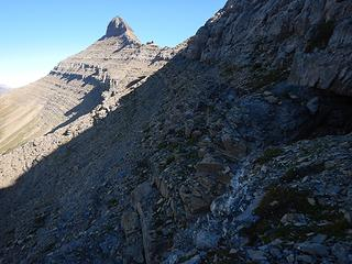 first third of ledge route and Stoney Inidan Peaks