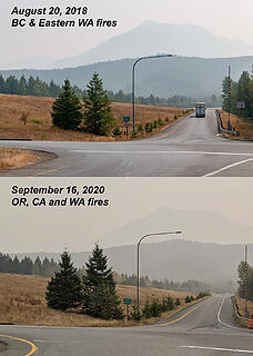 Comparison of smoke today with a similar photo in 2018