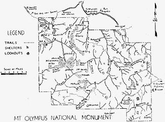 Mt. Olympus National Monument 1937 map*
