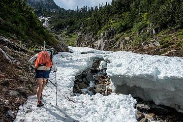 going around the snow bridge