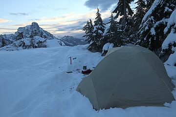Camp the next morning, after digging gear out of the drifted powder.