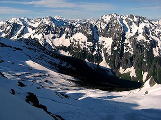 Looking southeast to Boston Basin, Cascade Pass, & beyond