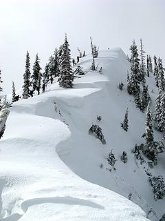 Corniced approach to north summit