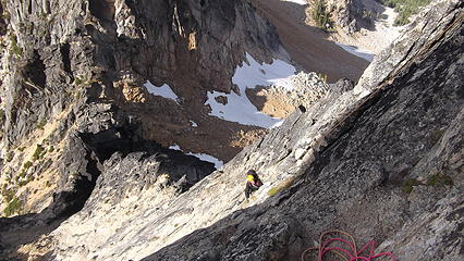 Looking down the N Face of Burgundy Spire,  about two pitches below the summit.  Burgundy Col below.