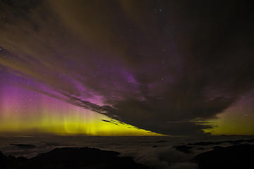 Aurora Borealis as seen from the freemont fire lookout in Mount Rainier National Park.