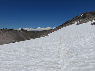 Some remaining scattered snow fields on the PCT.