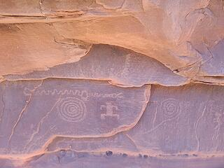 Petroglyphs from the wash at the base of the slabs