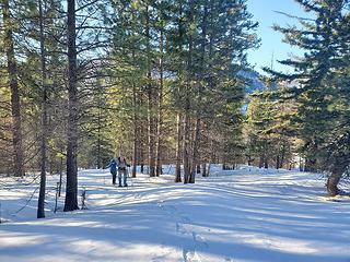 Snowshoeing up the ridge to Johnson