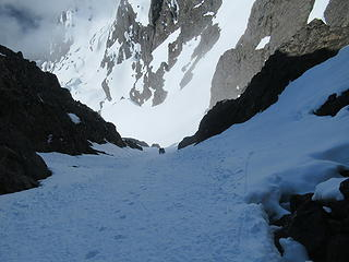 Jake and Kyle midway up the couloir