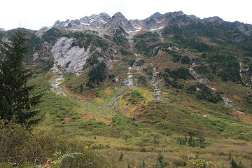 Mt.Sefrit. When I climbed it in 1967,  we crossed Ruth Cr. here (1/2 mi. along trail), climbed the slabs next to the stream in center, then ascended up and left to the ridge. Summit is on right.