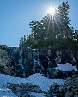 Waterfall and sunburst