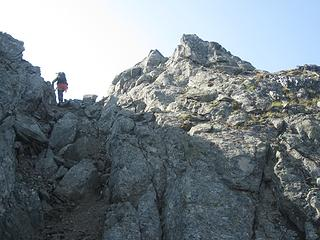 The small notch to gain the ridge
