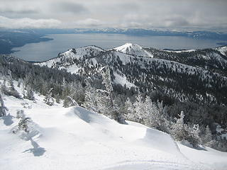 a cold looking Lake Tahoe