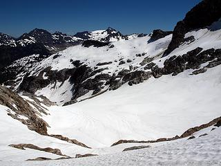 looking back at le conte glacier from above bruseth glacier
