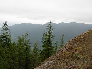Approx 3250 ft/4 mi looking S across Duckabush River valley. Glimpse of Hood canal off to left (SE).