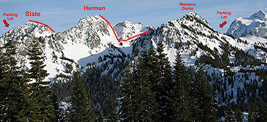 Slate, Herman & Mazama Dome viewed from the north (Barometer)