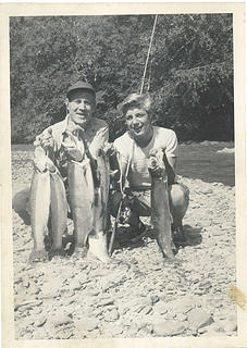 JDK and Chad Kirk - Queets Valley - probably 1953 - photo John Dewitt Kirk Jr.