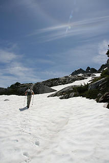 Adam making his way up the snowfield